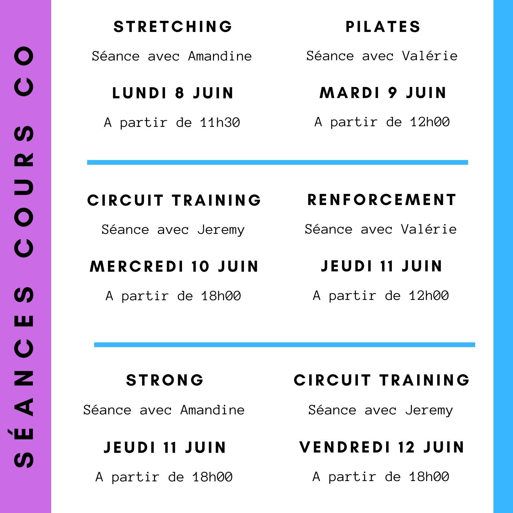 Cours collectifs 8 au 12 juin 2020